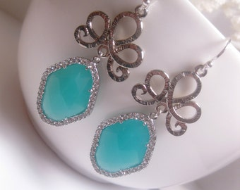 Sterling Silver And Rhodium Plated Oriental Crowned Turquoise Mint Diamond Shape Earrings