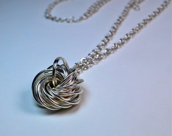 Love Knot Necklace - Sterling Silver - Handmade Chain