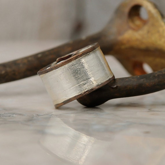 Sterling Silver Ring  - Unisex Silver and Copper Ring