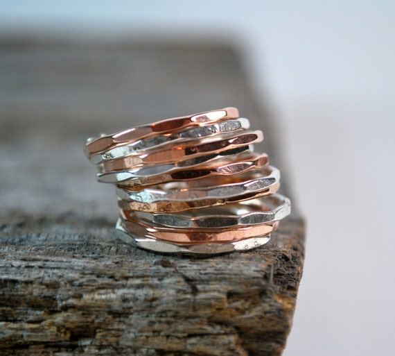 Stacked Rings - Thin Stackable Rings - Silver and Rose Gold Stacking Ring Set - Knuckle Rings