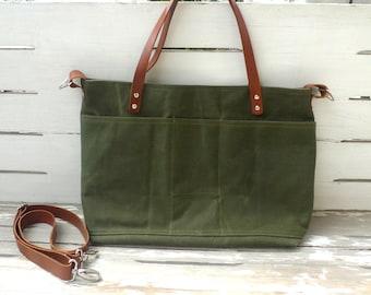 Free Express Shipping WATER PROOF Khaki Waxed Canvas Shoulder bag / Tote Bag / Diaper Bag
