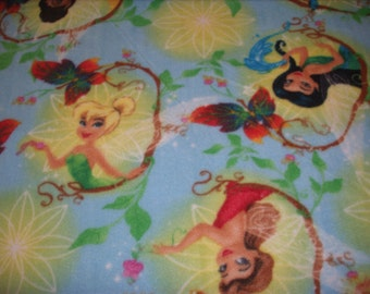 7/8 yard--Disney Licensed fleece fabric-Tinkerbell and friends