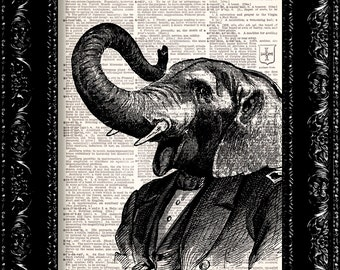 BOGO Elephant Dressed In A Suit -  Vintage Dictionary Print Vintage Book Print Page Art Upcycled Vintage Book Art