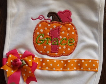 Boutique Pumpkin Birthday  Bib with ribbon band and bow and free monogram
