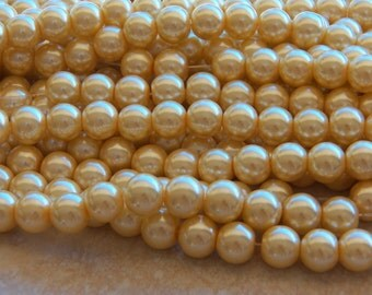 10mm Lemon Chiffon Glass Pearls, 50 PC (INDOC192)