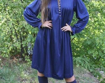 Great Blue Heron - Boho Vintage 70s Babydoll Navy Dress, Peter Pan Collar, XL / OSFA