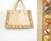 50s K & G Charlet straw handbag with colorful seashells // Rare vintage designer purse
