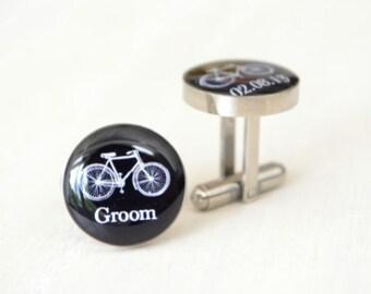 Groom Bike Cufflinks - Stainless Steel Black and White Wedding Bicycle Cufflinks