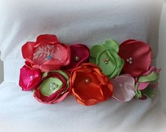 Maternity Sash, Wedding Sash, Pregnancy Photo Prop, Flower Sash in Green - Coral - Pink - Orange