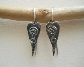 Sterling silver artisan heart earrings with spirals