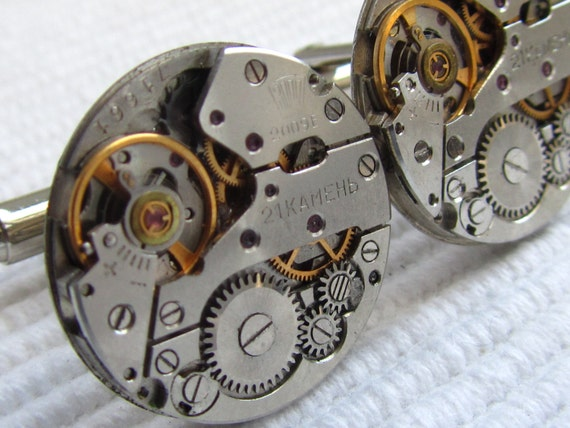Movements vintage upcycled mens cuff links gift under 30 dollars