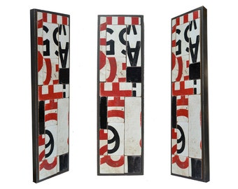 salvage wood sign collage typography red black white 5x18 Panel No. 1 ORIGINAL ART  by Elizabeth Rosen