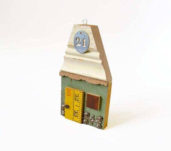 mixed media wood assemblage little house  original art by Elizabeth Rosen