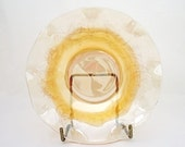 Vintage Jeannette Floragold Iridescent Marigold Carnival Glass Ruffled Berry Bowl, 1950s