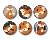 Mr Fox 6  handpressed button badges, fridge magnets or bottlecap wine glass charms.