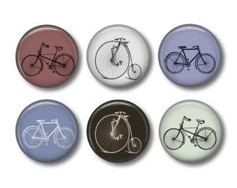 Bicycles vintage button badges or fridge magnets