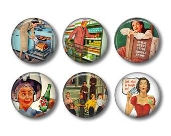 Ladies Retro button badges or fridge magnets