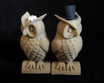 His and Hers Owl Cake Toppers Indie Wedding 3D Printed