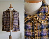 SALE Tweed Blazer - mustard, purple, 80s, checkered, jacket, coat, peter pan collar, 60s style, small, medium, EU36-38, UK8-10, Aus10-12
