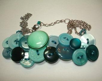 Vintage Button Jewelry - BUTTON NECKLACE - GLASS Focal Button -Aquamarine -blue necklace -Teal Blue and dark green necklace- Vintage buttons