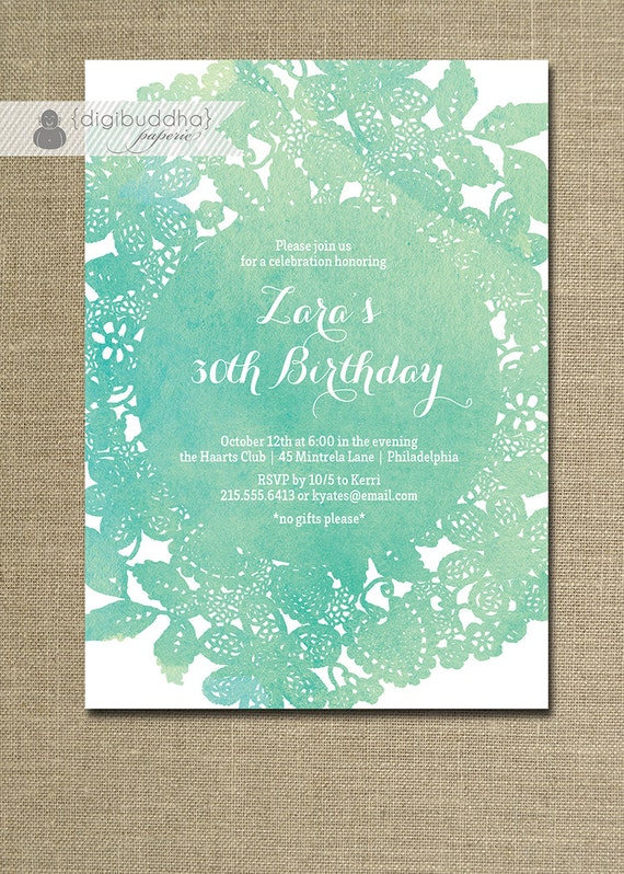 Lace doily watercolor birthday invitation modern blue teal
