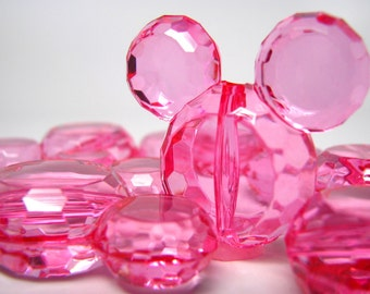 6 Mickey Mouse Beads Hot Pink Faceted Acrylic Craft Beads, 34mm x 37mm