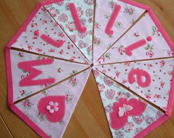 Personalised bunting, name banner. Baby girl. Applique hearts, butterflies. Fabric flags. Pink florals, rosebuds. Hot pink. Made to order.