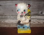 Vintage Chalk Pet Cat Bank Statue Carnival Prize 1950s Chippy Painted Chalkware Statue Shabby