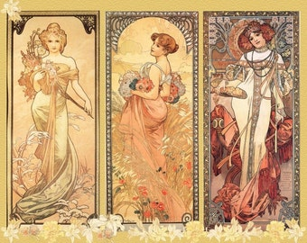 ART NOUVEAU PRINT by Alphonse Mucha of Seasons Art Nouveau