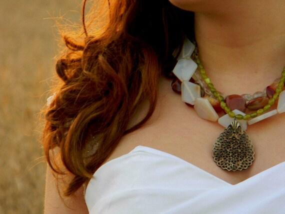 Quartz and Japser Handmade Necklace Wedding Sundance style jewelry