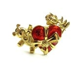 Teddy Bear Brooch Valentine's Day Enameled Red Heart and Rose Goldtone Pin