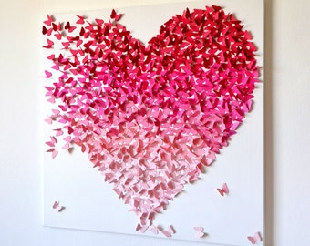 3D Pink Ombre Butterfly Heart, 3D Butterfly Art, Nursery Decor, Girl's  Room Art, Gift for Her, Romantic Art - Made to Order
