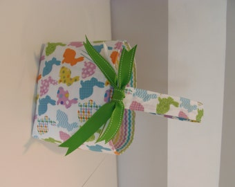 LAST ONE Fabric Easter Basket - White Bunny with Chevron