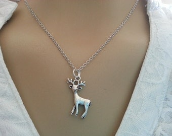 Antique Silver Reindeer  charm   Necklace