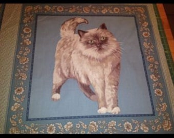 Blue Persian Cat Cushion Panel with border edge- 18 x 22 inches