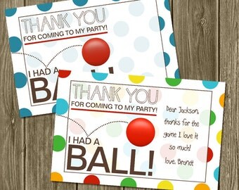 Ball Birthday Thank you cards 4x6