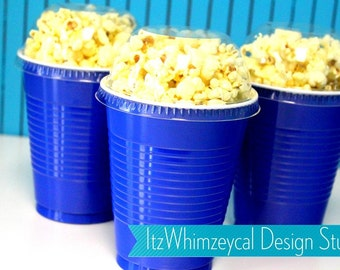 Blue | Party Cup Container | Party Favor Cup | Popcorn Container | Popcorn Cups | Popcorn Favors | Favor Boxes | Movie Night Party