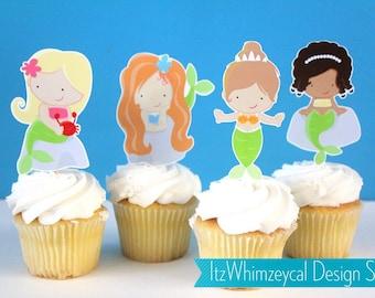 Enchanted Mermaid  Die Cut Cupcake Topper (One Dozen)