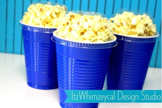 Blue Popcorn Favor Boxes : Blue party cup container favor popcorn