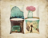 Decorative Throw Pillow Cover Aqua Country Set Barn Turquoise Teal Truck Windmill Pink Hydrangea Rustic Farmhouse Couch Decor Home Bedroom