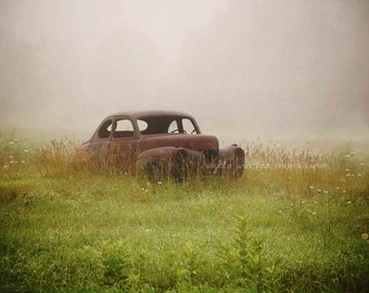 Antique Car Photo, Rustic Farmhouse Photography, Country Field Picture, Gray Green Neutral Fixer Upper Style, Livingroom Home Decor Wall Art