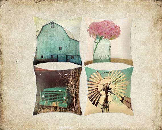 Turquoise Decorative Pillow Set : Throw Pillow Cover Aqua Country Set Barn Turquoise Teal Truck