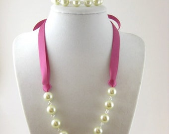 Bridesmaid Set (Necklace, Bracelet, and Earrings) -Customizable- Ivory/White/Gray Pearls, Raspberry Rose, Rose, Antique Mauve Ribbon