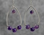 Amethyst dangling Tear drop loop earrings Bridesmaids gifts Free US Shipping handmade Anni Designs