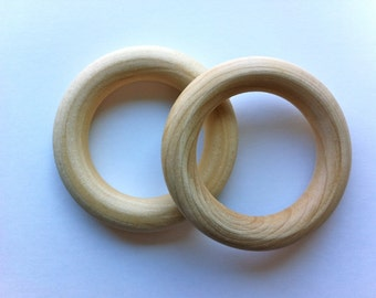 """TWO IMPERFECT unfinished 2.75-3"""" birch wood rings - Natural Wood Teething Ring Toy - Organic -"""