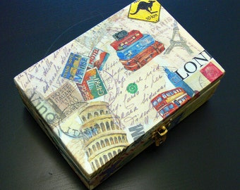 Decoupaged Decorative Memories Storage Wooden Box Traveler MADE TO ORDER