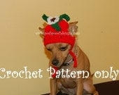 Instant Download Crochet Pattern - Strawberry Dog Hat - Small Dog Beanie 2-20 lbs