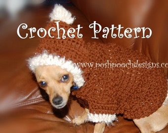 Instant Download Crochet Pattern- Dog Hoodie with Fur Trim - Dog Hoody -Small Dog Sweater 2-20 lbs