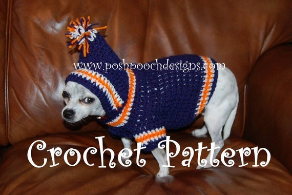 Instant Download Crochet Pattern - Sports Team Dog Hoodie - Small Dog Hoody 2-20 lbs
