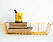 Vintage Yellow Metal Basket Tray Storage Office